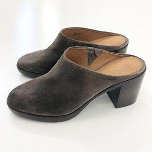Frye Joan Campus Mule Grey Suede Heeled Size 8.5